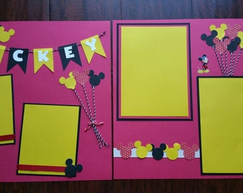 2 12x12 Mickey Mouse Theme Premade Scrapbook Pages/12x12 Pages/ Premade Layout/Mickey