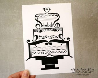 Music WEDDING Card / Music note wedding cake card / Wedding card for musician / Bridal shower card