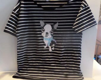Adorable Boston Terrier Non-wrinkle T-Shirt, Ladies Medium!