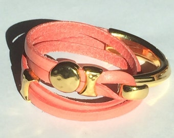 Coral colored flat leather wrap bracelet w Gold Hook Clasp and Gold Zamak findings - Qty 1