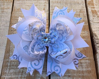 White & Silver Hair Bow - Silver Hair Bows - White Headband - Boutique Bows - Girls Bows