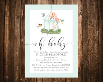 Oh Baby Garden Baby Shower Invitation; Birdcage; Coral & Mint; Printable or set of 10