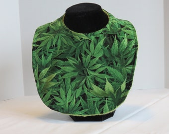 Baby Bib - Cannabis Leaf Green - Timeless Treasures