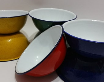 FREE SHIPPING Vintage 7 piece Speckled Enamel Bowls.