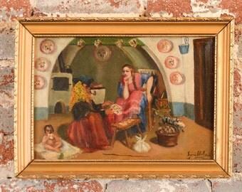 Italian primitive Oil Painting -Tarot Card Reader -Signed
