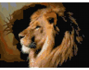 Cross Stitch The Lion and Jesus Pattern Design Chart Religious Inspirational PDF Digital File Instant Download
