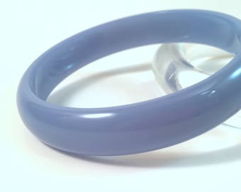 "Vintage Bakelite Bangle - Fabulous Juicy Deep Sky Blue Polished Bakelite Catalin Bracelet 1/2"""