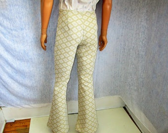 "70s 30"" x 33"" Polyester Men's BELL BOTTOMS Pants Gold Silver WeirdoWear"