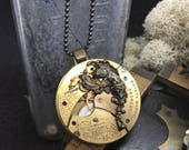 Paris Angel  -Steampunk pocket watch handcrafted artisan jewelry necklace.