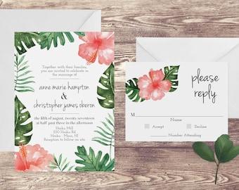 The Maui Wedding Invitation And RSVP Set, Tropical Wedding Invitations, Hawaii  Wedding Invitations,