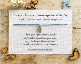 You're EXPECTING a BABY BOY Congratulations wish bracelet, mum to be, favour gift, add a name & custom options