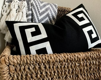 Black Greek Key Pillows-Black and Off-White Pillows~ Black Lumbar Pillow~Cream Lumbar Pillow~Custom Color and Sizes Available~Hidden Zippers