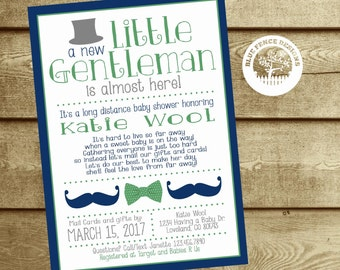 Long Distance Baby Shower Invitation, Baby Shower by Mail, Across the Miles Shower, Little Gentleman, Little Man, Boy, Mustache, Bow Tie