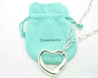 Tiffany & Co. Sterling Silver Huge Open Heart Pendant Oval Link Necklace 16""