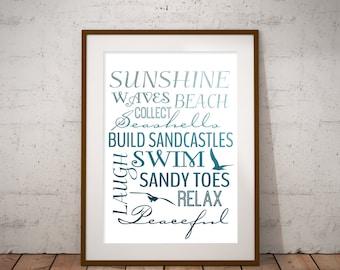 Beach themed subway art,11x14,16x20,nautical printable,ocean cottage,beach theme,gallery wall art
