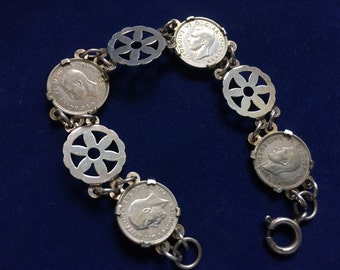 Vintage Sterling 1970s Bracelet 1940s/1930s Coins