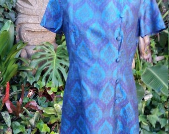 "Vintage 60's 1960's blue silk shift dress // Arabesque print // Jackie O  // Mad men // VLV // Rockabilly // pinup // VOLUP 35"" Waist"