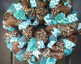 Turquoise and Leopard Deco Mesh Wreath | Cheetah and Turqouise Everyday Deco Mesh Wreath / Floral Leopard Wreath / Animal Print Wreath