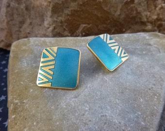 Laurel Burch Naito Vintage Earrings | Cloisonné Style Teal Enamel Post Earrings for Pierced Ears | Geometric Earrings