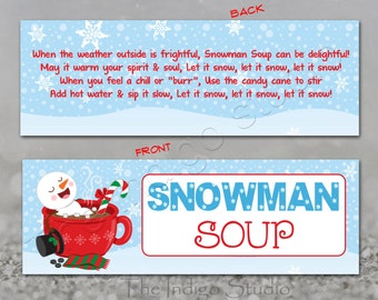 Snowman Soup favor bag 2 different sizes included - Hot coco Treat bag topper Hot Chocolate Party favor Digital Printable Label DIY