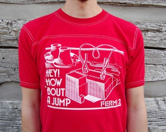 80s Vintage Nuclear Power Station T Shirt Large Fermi 2 Davis Besse Double Sided Graphics Hey How Bout A Jump Soft Thin 50 50 Bantam