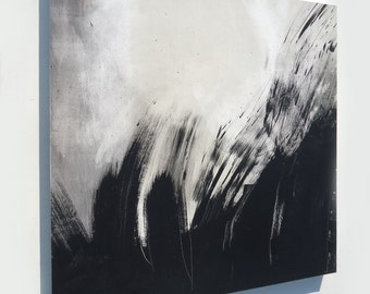 3ft x3ft BLACK and WHITE ABSTRACT art movement painting on cradled wood panel - modern moody original ambient artwork