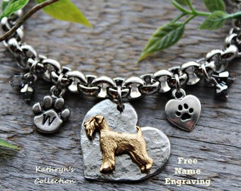 Wheaten Terrier Bracelet, Wheaten Terrier Jewelry, Free Name Engraving, Read Full Listing Details