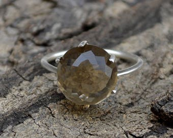 Rose Cut Smoky Quartz Ring, Round Smoky Quartz Ring, 925 Sterling Silver Ring, Prong Set Ring, Smoky Ring, Gift For Her, Lovely Gift Ring