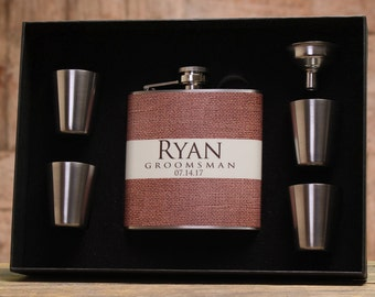 Burlap Wedding, Personalized Flask for Groomsman