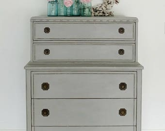 SOLD EXAMPLE........Annie Sloan Chalk Painted Grey Antique Chest on Chest of Drawers/Bedroom Dresser Furniture/nursery storage