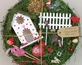Fairy garden kit with container DIY, heart design red and pink polka dots, white base galvanized outdoor container