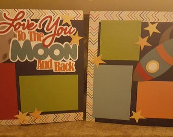 """Premade Scrapbook Layout """"Love you to the moon"""""""