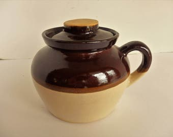 Small Brown Glazed Bean Pot.