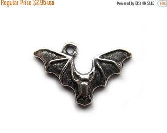HALF PRICE 10 Silver Flying Bat Charms -  Halloween Charms