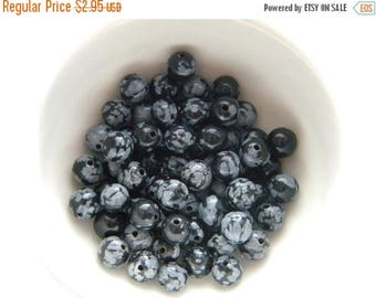 HALF PRICE 20 Snowflake Obsidian Beads - 6mm