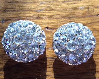 1980 sparkling clear rhinestone clip on earrings.  Lovely and perfect for any occasion.
