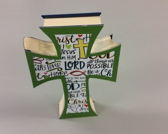 Cross Book. Decorative Item Ready for Mantle of Book Shelf. Faith. I Love Jesus. Green Front with Lettering.