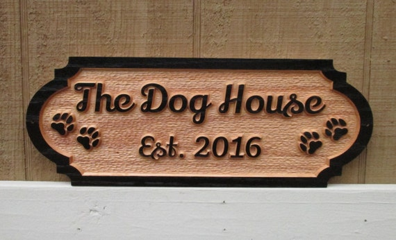 Personalized dog house sign custom name plate red oak wood