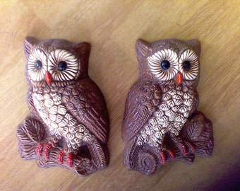Owl Wall Hangings, Pair of owls, Brown owls