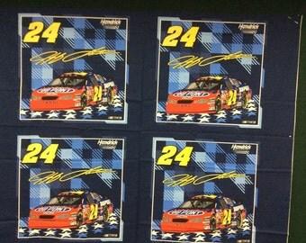 1/2 Yard - 2 panels. Cotton Pillow Panels Nascar 2003 Jeff Gordon #24 BY SPRINGS