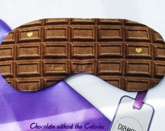 Chocolate Bar Eye Sleep Mask,Cotton print Gift Travel Camping Blackout - UK Made