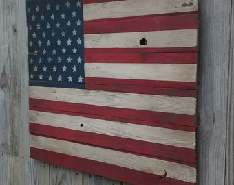 Rustic Wooden American Flag, 24 X 30 inches. Made from recycled fencing. Free Shipping M