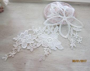 "1piece Off White Flower Applique/NA83-Applique/ Floweing Applique/ 8""inches Flower Applique/"