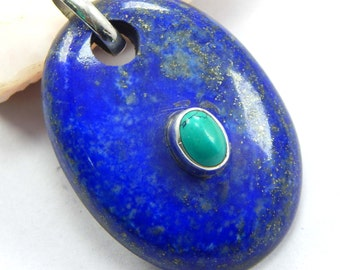 ON Sale 18.92 gm Silver PANDANT Natural lapis, Turquoise pendant Natural Gemstone Silver pendant 92.5 sterling silver