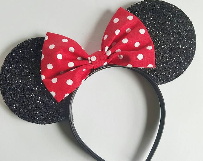 Mouse Ears || Minnie Ears || Polka Dot Mouse Ears || Mouse Ears Headband || Minnie Ears || Sparkle Mouse Ears || RTS