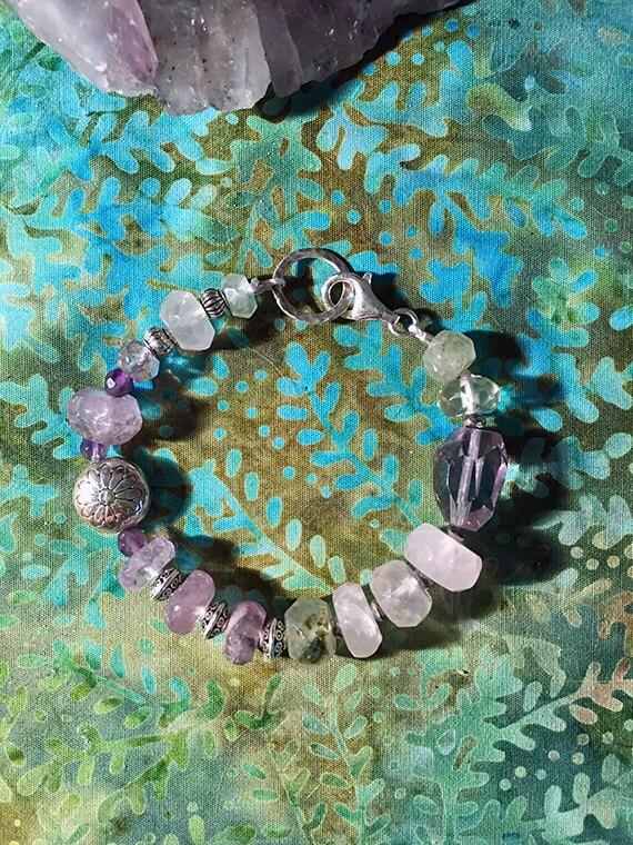 Amethyst, Prehnite, Rose Quartz Natural Gemstone Bracelet, Multi gemstone Bracelet, Healing Crystals, Amethyst Jewelry