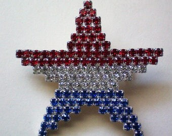 Patriotic American Flag Star Pin - 5278