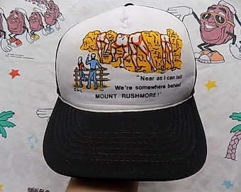 Vintage 80's Mount Rushmore souvenir Trucker Hat, Adult Size funny dirty