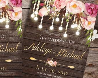 Rustic Wedding Invitation printable - Country wedding invitation, printable wedding invitation, barn wedding invitation