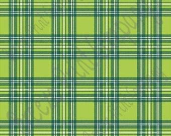 Lime, dark green and white tartan plaid craft vinyl sheet - HTV or Adhesive Vinyl -  HTV1853